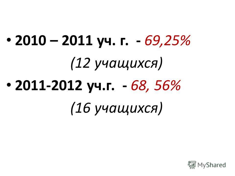 2010 – 2011 уч. г. - 69,25% (12 учащихся) 2011-2012 уч.г. - 68, 56% (16 учащихся)