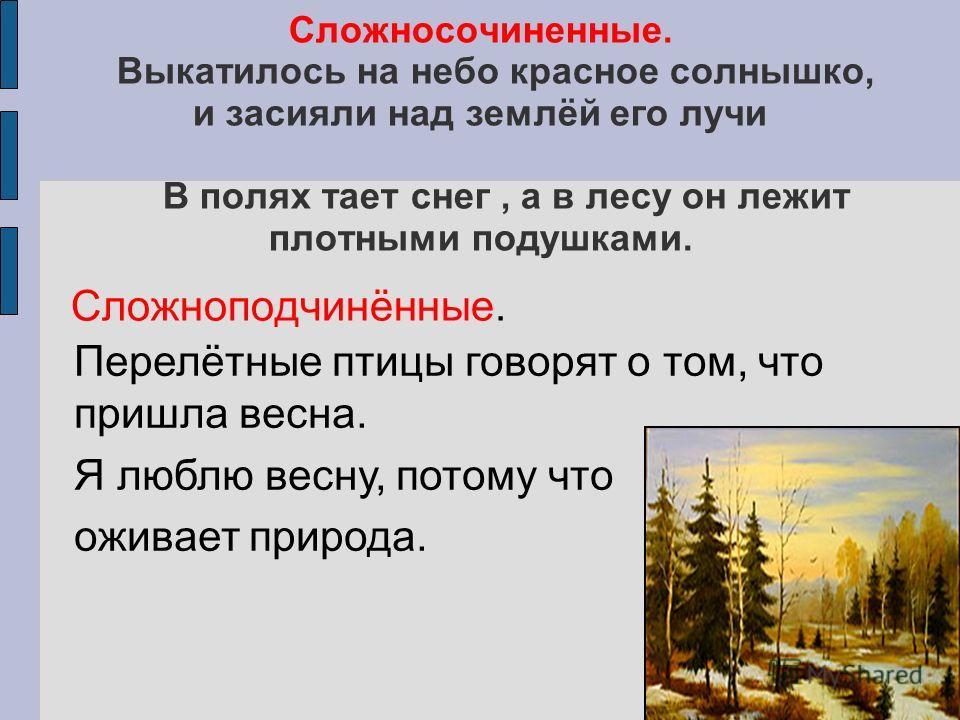 Сложносочиненные. Выкатилось на небо красное солнышко, и засияли над землёй его лучи В полях тает снег, а в лесу он лежит плотными подушками. Сложноподчинённые. Перелётные птицы говорят о том, что пришла весна. Я люблю весну, потому что оживает приро