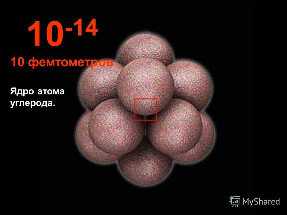 При таком невероятно малом размере мы можем видеть ядро атома. 10 -13 100 фемтометров