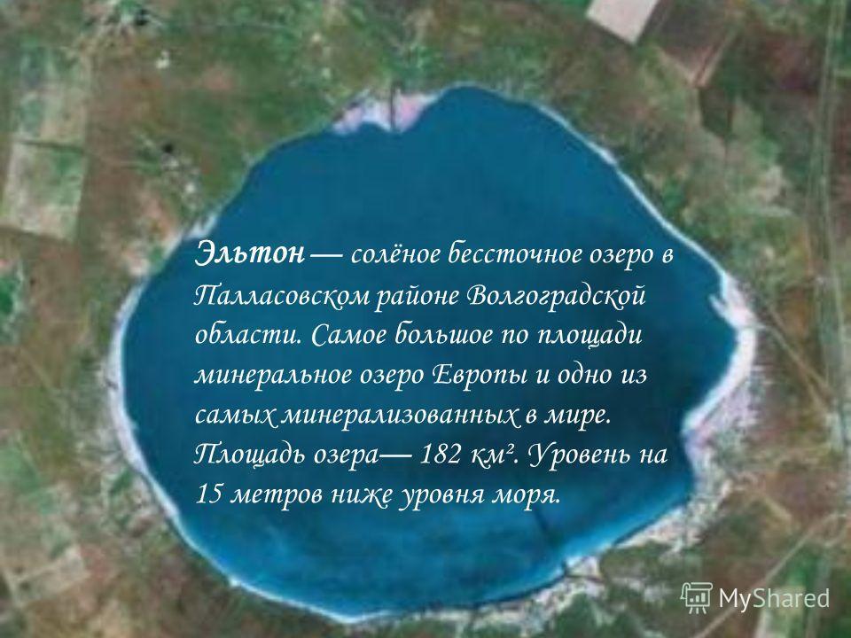 Эльтон солёное бессточное озеро в Палласовском районе Волгоградской области. Самое большое по площади минеральное озеро Европы и одно из самых минерализованных в мире. Площадь озера 182 км². Уровень на 15 метров ниже уровня моря.