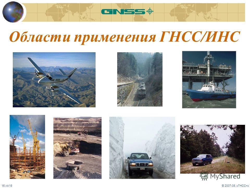 15 из 18© 2007-08, «ГНСС+» Области применения ГНСС/ИНС