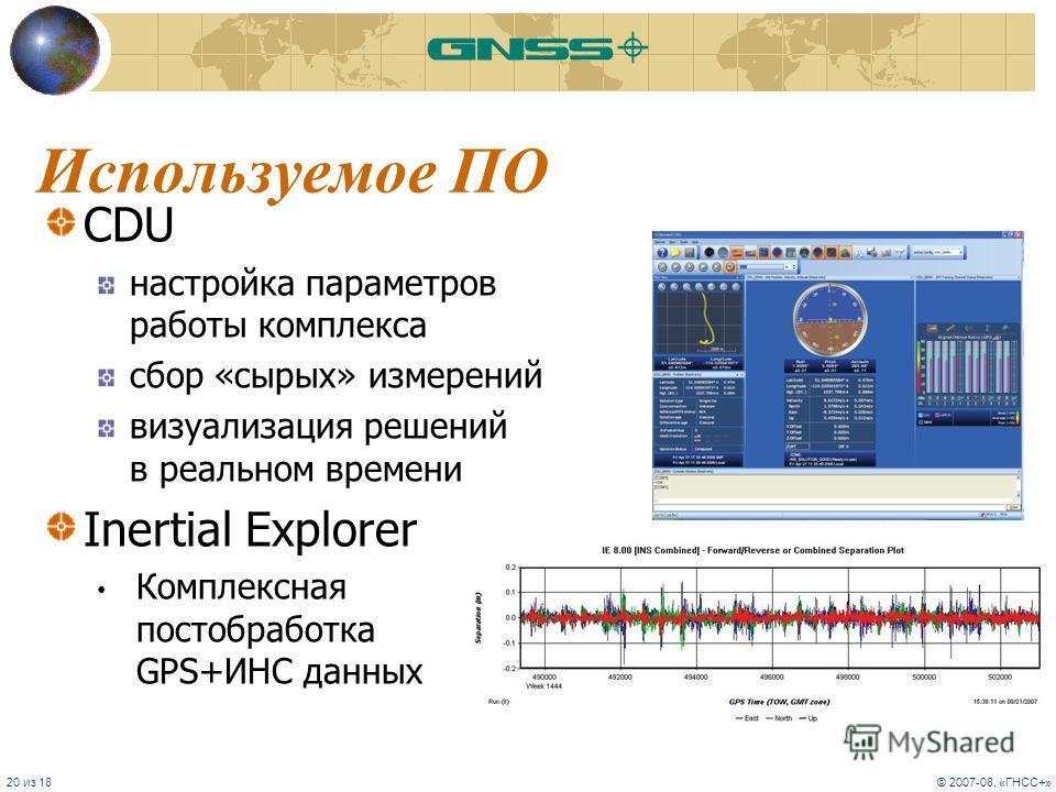 20 из 18© 2007-08, «ГНСС+» Используемое ПО CDU настройка параметров работы комплекса сбор «сырых» измерений визуализация решений в реальном времени Inertial Explorer Комплексная постобработка GPS+ИНС данных