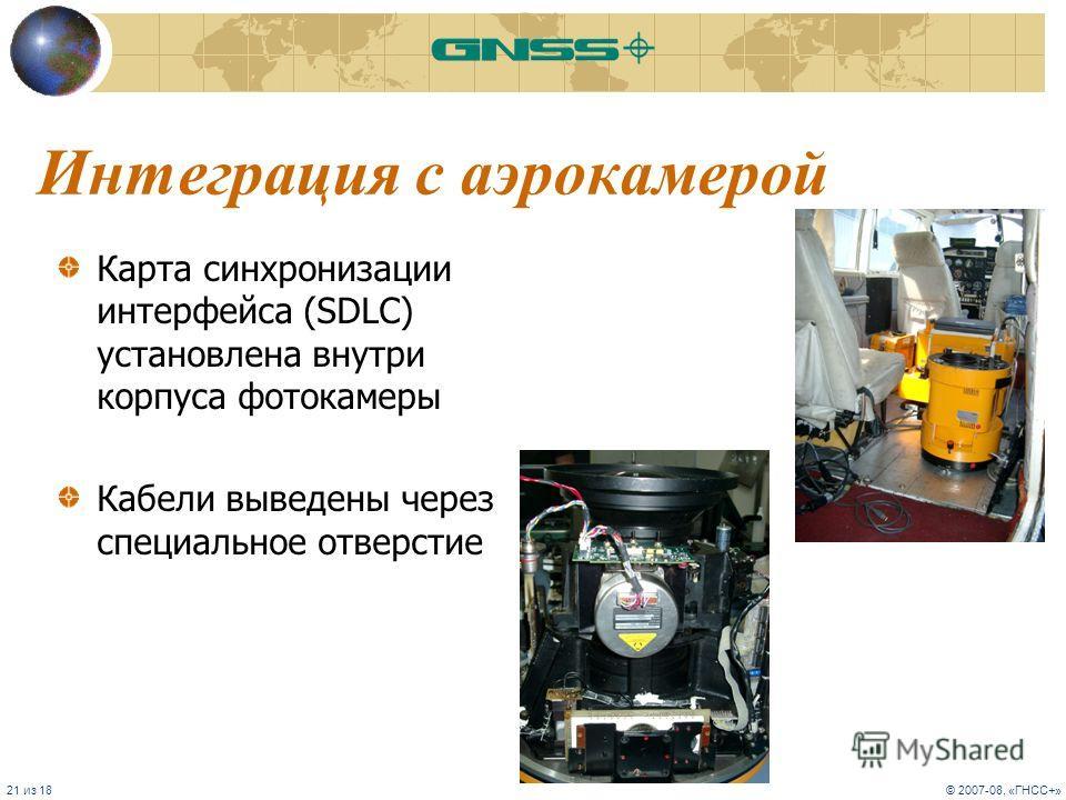 21 из 18© 2007-08, «ГНСС+» Интеграция с аэрокамерой Карта синхронизации интерфейса (SDLC) установлена внутри корпуса фотокамеры Кабели выведены через специальное отверстие