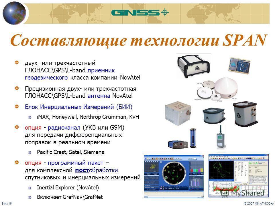 9 из 18© 2007-08, «ГНСС+» Составляющие технологии SPAN двух- или трехчастотный ГЛОНАСС\GPS\L-band приемник геодезического класса компании NovAtel Прецизионная двух- или трехчастотная ГЛОНАСС\GPS\L-band антенна NovAtel Блок Инерциальных Измерений (БИИ