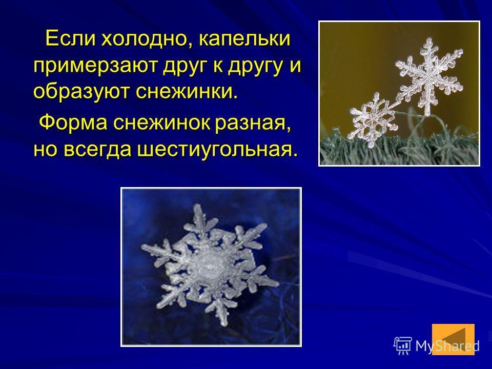 Если холодно, капельки примерзают друг к другу и образуют снежинки. Если холодно, капельки примерзают друг к другу и образуют снежинки. Форма снежинок разная, но всегда шестиугольная. Форма снежинок разная, но всегда шестиугольная.