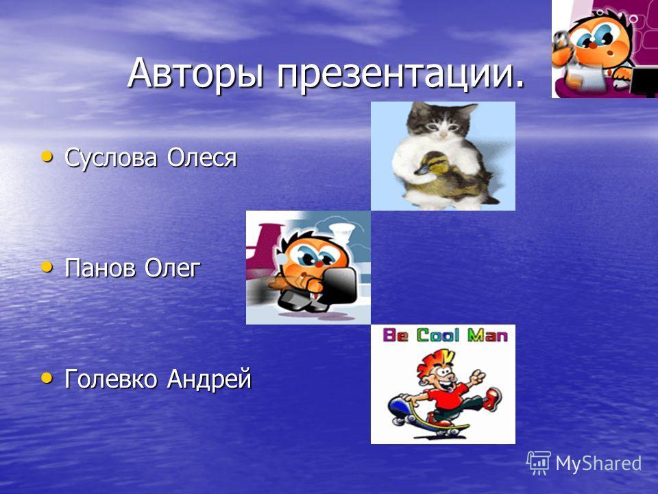 Авторы презентации. Авторы презентации. Суслова Олеся Панов Олег Голевко Андрей