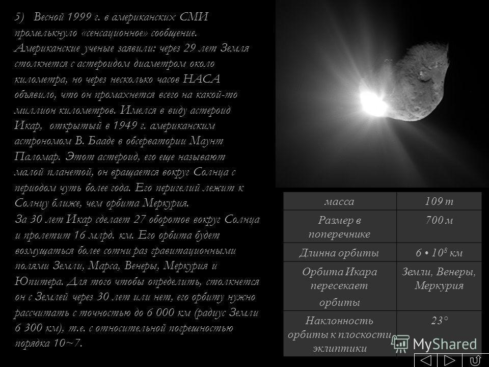 масса109 т Размер в поперечнике 700 м Длинна орбиты6 10 8 км Орбита Икара пересекает орбиты Земли, Венеры, Меркурия Наклонность орбиты к плоскости эклиптики 23° За 30 лет Икар сделает 27 оборотов вокруг Солнца и пролетит 16 млрд. км. Его орбита будет
