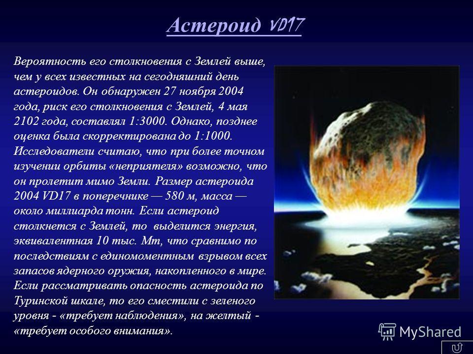 Вероятность его столкновения с Землей выше, чем у всех известных на сегодняшний день астероидов. Он обнаружен 27 ноября 2004 года, риск его столкновения с Землей, 4 мая 2102 года, составлял 1:3000. Однако, позднее оценка была скорректирована до 1:100