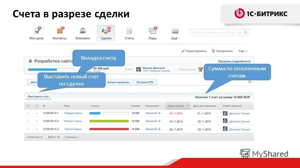 Вкладка счета Сумма по оплаченным счетам Выставить новый счет по сделке Счета в разрезе сделки