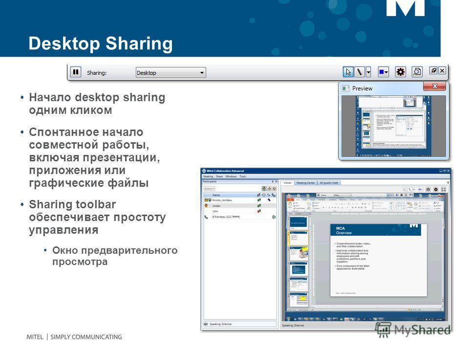 Desktop Sharing Начало desktop sharing одним кликом Спонтанное начало совместной работы, включая презентации, приложения или графические файлы Sharing toolbar обеспечивает простоту управления Окно предварительного просмотра