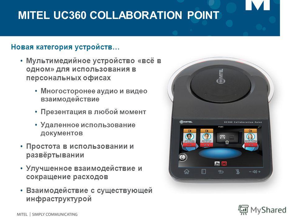MITEL UC360 COLLABORATION POINT Новая категория устройств… Мультимедийное устройство «всё в одном» для использования в персональных офисах Многосторонее аудио и видео взаимодействие Презентация в любой момент Удаленное использование документов Просто