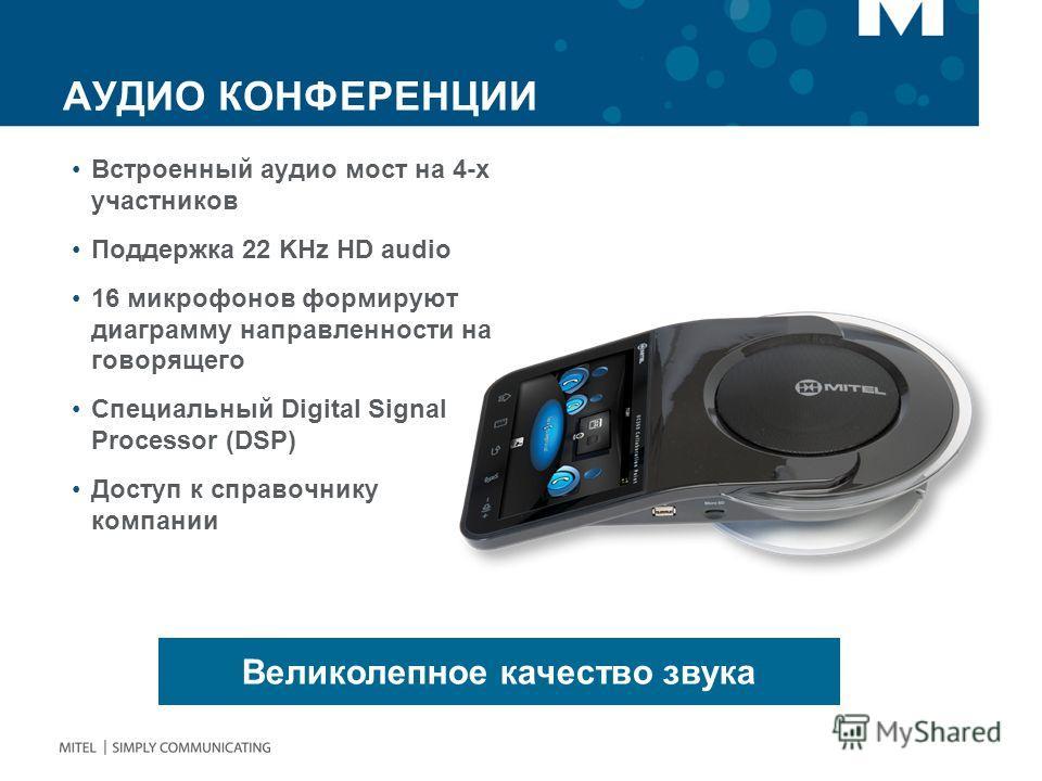 АУДИО КОНФЕРЕНЦИИ Встроенный аудио мост на 4-х участников Поддержка 22 KHz HD audio 16 микрофонов формируют диаграмму направленности на говорящего Специальный Digital Signal Processor (DSP) Доступ к справочнику компании Великолепное качество звука