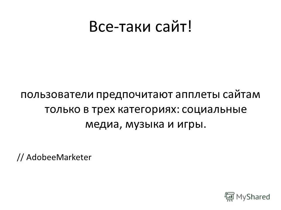 Все-таки сайт! пользователи предпочитают апплеты сайтам только в трех категориях: социальные медиа, музыка и игры. // AdobeeMarketer