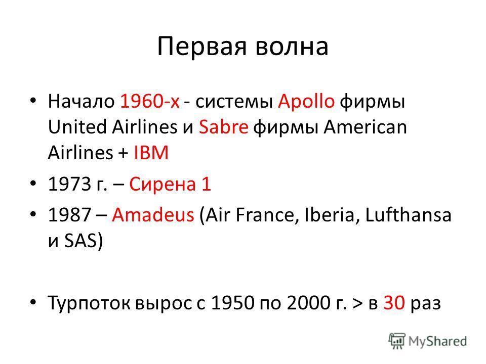 Первая волна Начало 1960-х - системы Apollo фирмы United Airlines и Sabre фирмы American Airlines + IBM 1973 г. – Сирена 1 1987 – Amadeus (Air France, Iberia, Lufthansa и SAS) Турпоток вырос с 1950 по 2000 г. > в 30 раз