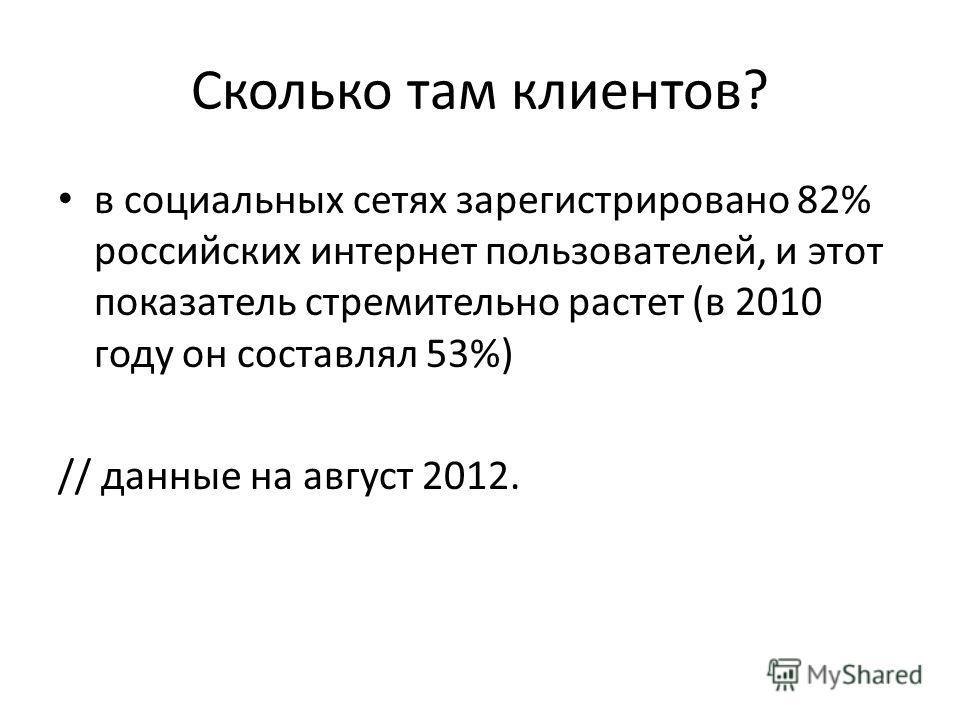 Сколько там клиентов? в социальных сетях зарегистрировано 82% российских интернет пользователей, и этот показатель стремительно растет (в 2010 году он составлял 53%) // данные на август 2012.