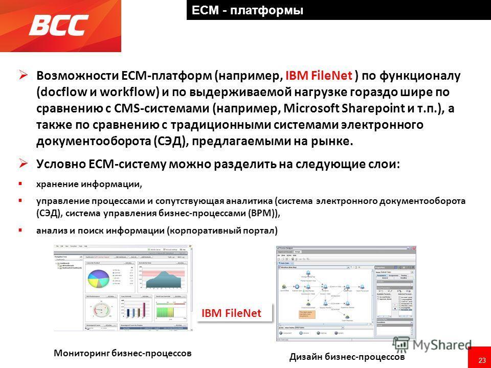 23 ECM - платформы Возможности ECM-платформ (например, IBM FileNet ) по функционалу (docflow и workflow) и по выдерживаемой нагрузке гораздо шире по сравнению с CMS-системами (например, Microsoft Sharepoint и т.п.), а также по сравнению с традиционны