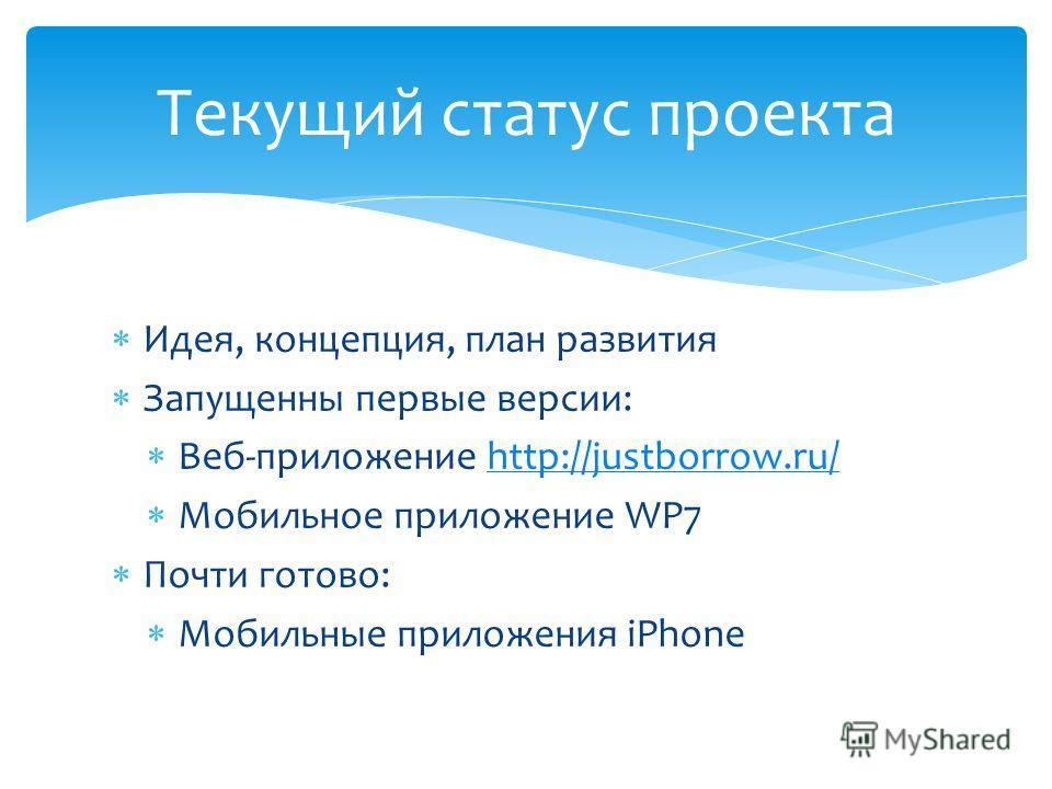Идея, концепция, план развития Запущенны первые версии: Веб-приложение http://justborrow.ru/http://justborrow.ru/ Мобильное приложение WP7 Почти готово: Мобильные приложения iPhone Текущий статус проекта