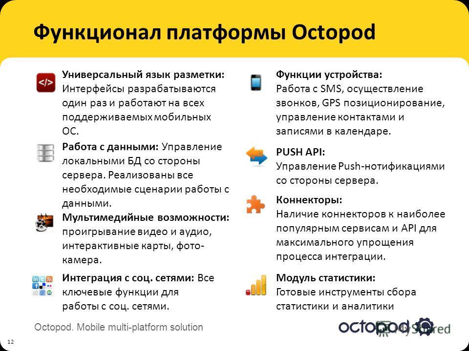 Octopod. Mobile multi-platform solution Функционал платформы Octopod 12 Работа с данными: Управление локальными БД со стороны сервера. Реализованы все необходимые сценарии работы с данными. Интеграция с соц. сетями: Все ключевые функции для работы с