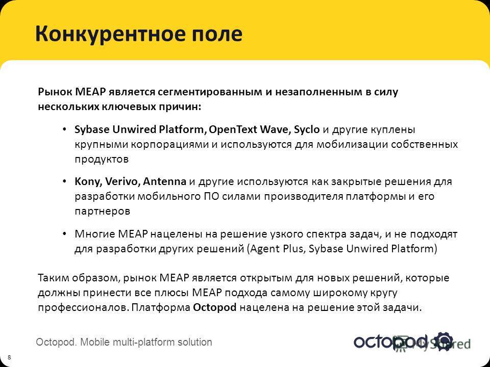 Octopod. Mobile multi-platform solution Конкурентное поле 8 Рынок MEAP является сегментированным и незаполненным в силу нескольких ключевых причин: Sybase Unwired Platform, OpenText Wave, Syclo и другие куплены крупными корпорациями и используются дл