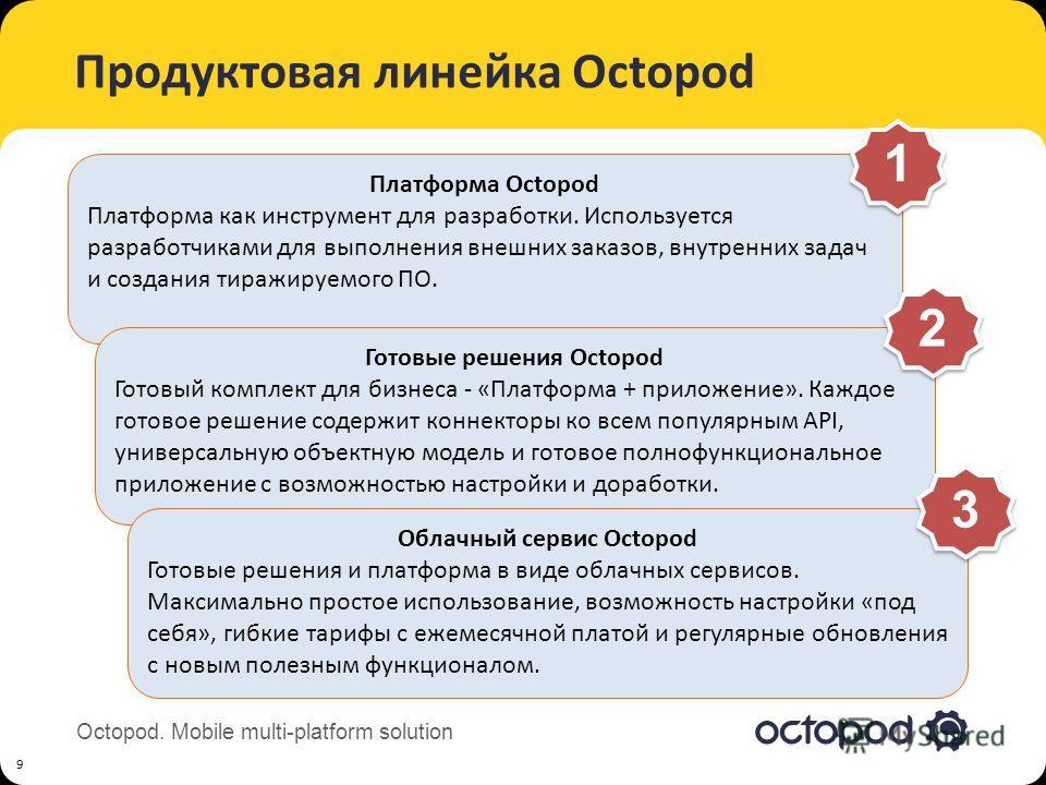 Octopod. Mobile multi-platform solution Продуктовая линейка Octopod 9 Платформа Octopod Платформа как инструмент для разработки. Используется разработчиками для выполнения внешних заказов, внутренних задач и создания тиражируемого ПО. 1 1 Готовые реш