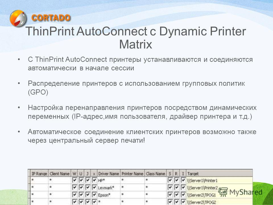 ThinPrint AutoConnect с Dynamic Printer Matrix С ThinPrint AutoConnect принтеры устанавливаются и соединяются автоматически в начале сессии Распределение принтеров с использованием групповых политик (GPO) Настройка перенаправления принтеров посредств