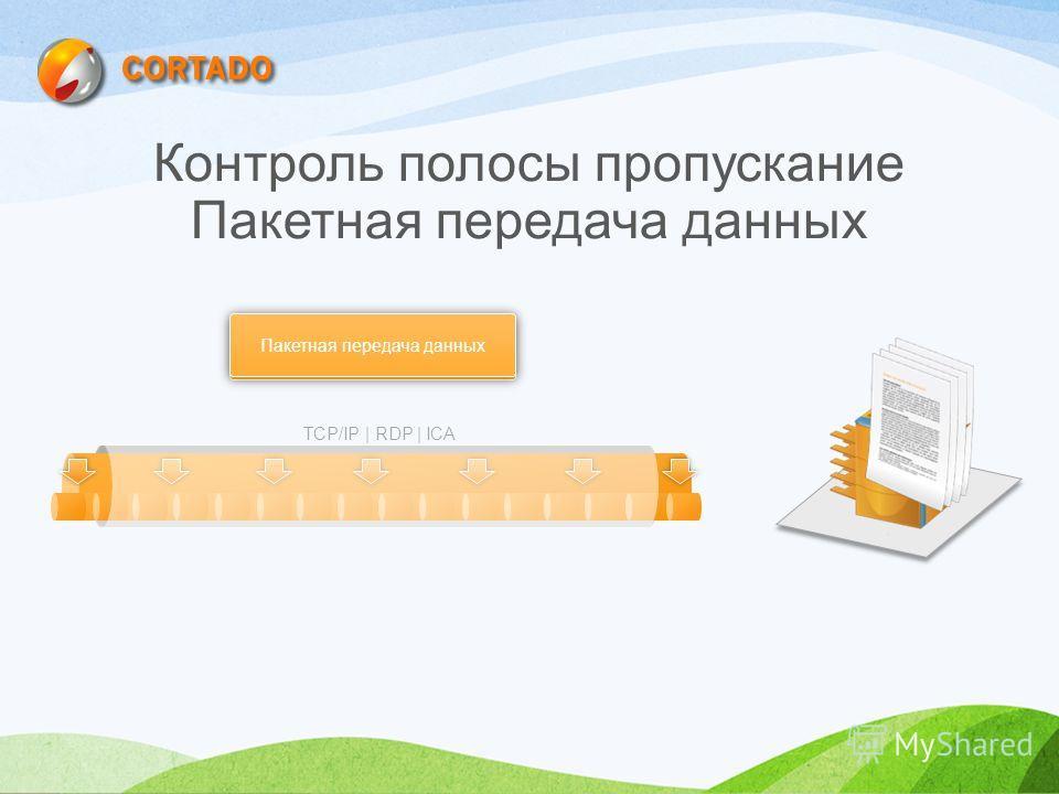 Контроль полосы пропускание Пакетная передача данных Ограничение полосы пропускания / Сжатие Пакетная передача данных TCP/IP | RDP | ICA