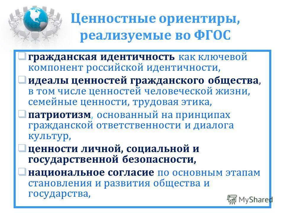 Ценностные ориентиры, реализуемые во ФГОС гражданская идентичность как ключевой компонент российской идентичности, идеалы ценностей гражданского общества, в том числе ценностей человеческой жизни, семейные ценности, трудовая этика, патриотизм, основа