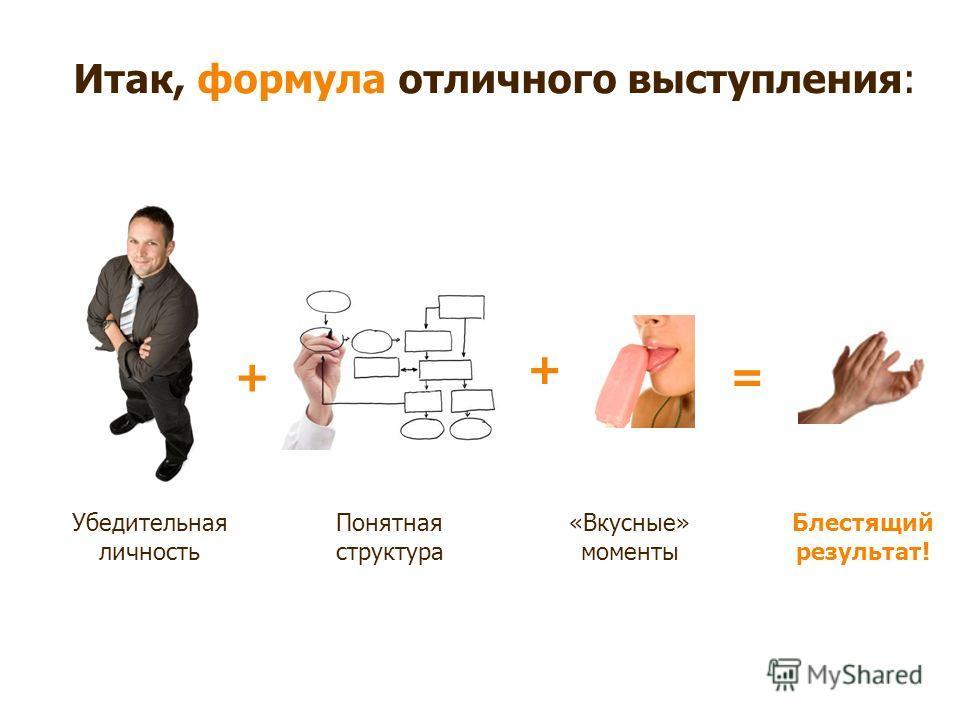 Итак, формула отличного выступления: += Убедительная личность Понятная структура Блестящий результат! + «Вкусные» моменты