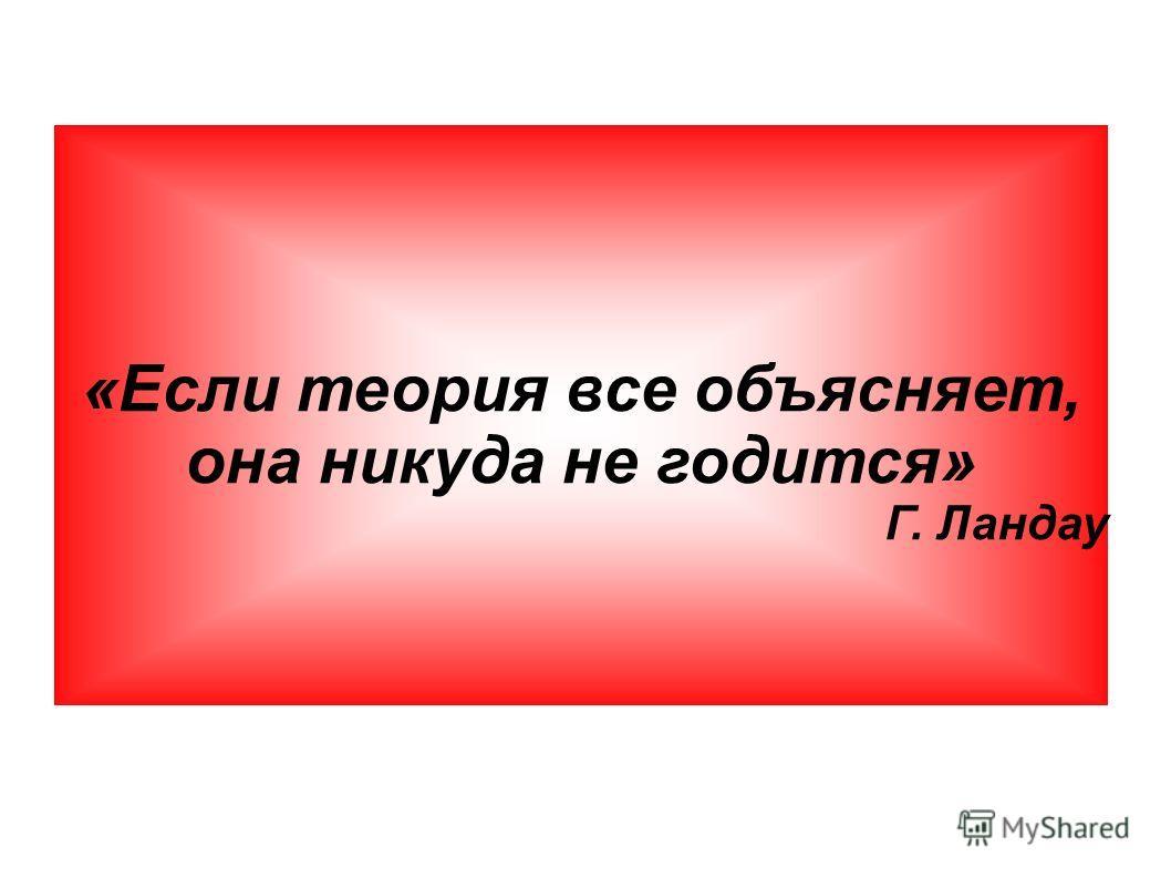 «Если теория все объясняет, она никуда не годится» Г. Ландау