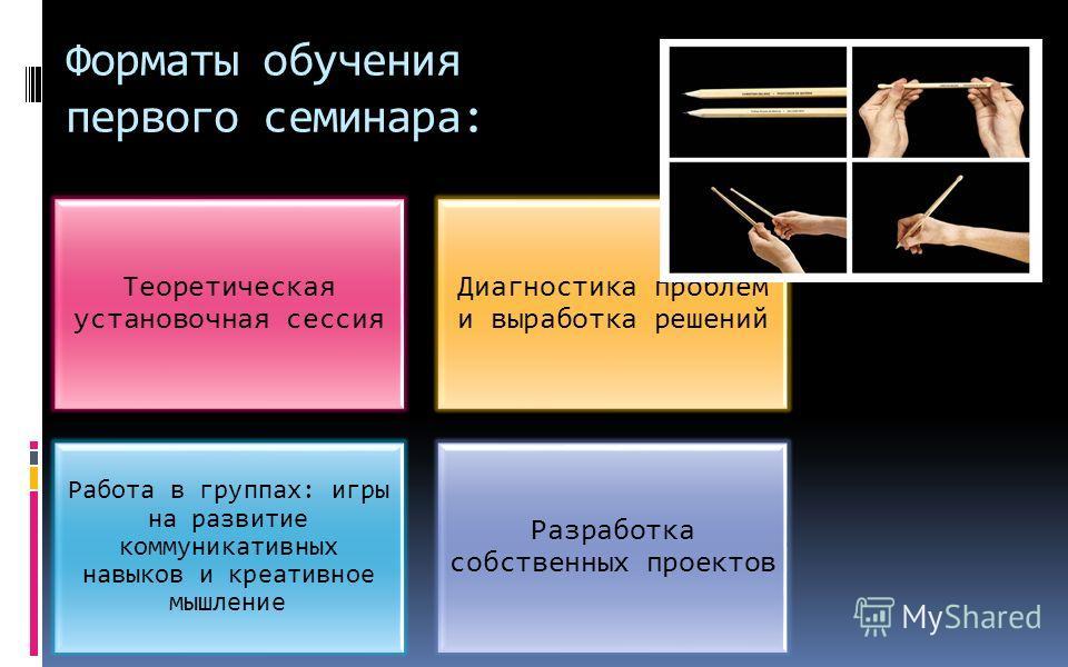 Форматы обучения первого семинара: Теоретическая установочная сессия Диагностика проблем и выработка решений Работа в группах: игры на развитие коммуникативных навыков и креативное мышление Разработка собственных проектов