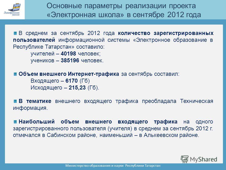 Министерство образования и науки Республики Татарстан В среднем за сентябрь 2012 года количество зарегистрированных пользователей информационной системы «Электронное образование в Республике Татарстан» составило: учителей – 40198 человек; учеников –