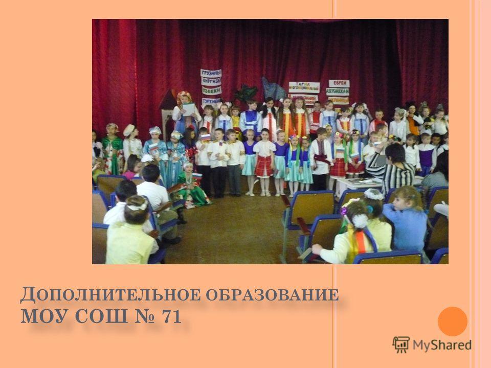 Д ОПОЛНИТЕЛЬНОЕ ОБРАЗОВАНИЕ МОУ СОШ 71