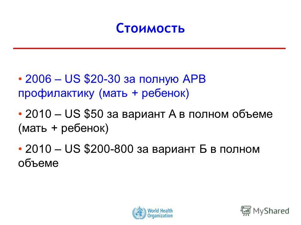 21 Стоимость 2006 – US $20-30 за полную АРВ профилактику (мать + ребенок) 2010 – US $50 за вариант A в полном объеме (мать + ребенок) 2010 – US $200-800 за вариант Б в полном объеме