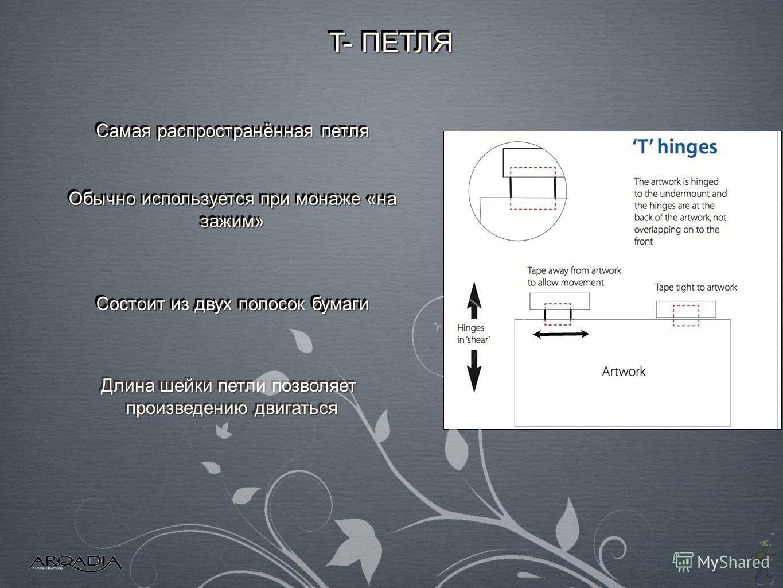 T- ПЕТЛЯ Состоит из двух полосок бумаги Длина шейки петли позволяет произведению двигаться Длина шейки петли позволяет произведению двигаться Обычно используется при монаже «на зажим» Самая распространённая петля