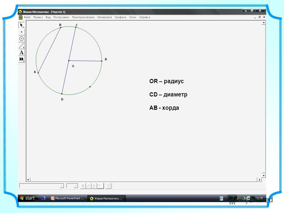 ОR – радиус СD – диаметр AB - хорда