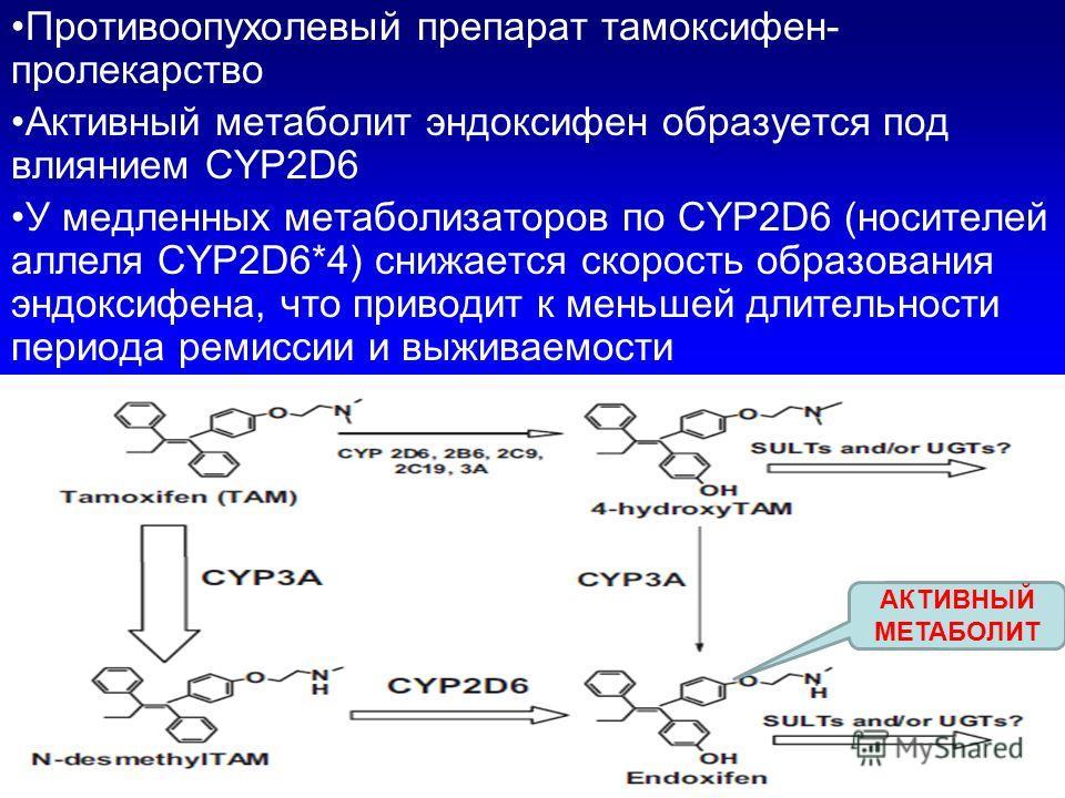 Противоопухолевый препарат тамоксифен- пролекарство Активный метаболит эндоксифен образуется под влиянием CYP2D6 У медленных метаболизаторов по CYP2D6 (носителей аллеля CYP2D6*4) снижается скорость образования эндоксифена, что приводит к меньшей длит