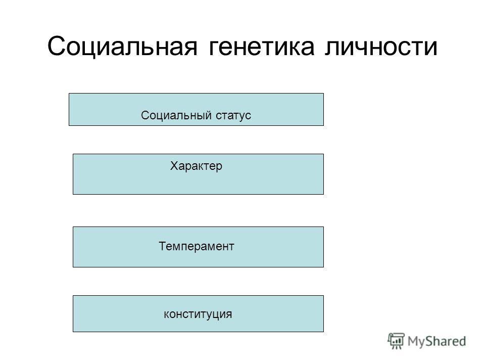 Социальная генетика личности Социальный статус Характер Темперамент конституция