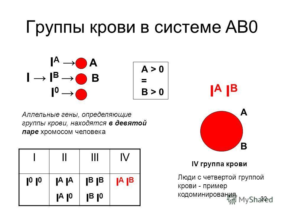 32 Группы крови в системе АВ0 I A А I I B В I 0 IIIIIIIV I 0 I A I A I 0 I B I B I 0 I A I B IV группа крови АВАВ А > 0 = В > 0 Аллельные гены, определяющие группы крови, находятся в девятой паре хромосом человека Люди с четвертой группой крови - при