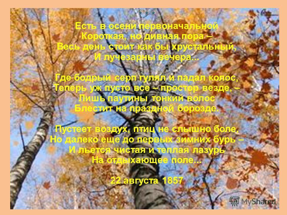 10 Осенний вечер Есть в светлости осенних вечеров Умильная, таинственная прелесть: Зловещий блеск и пестрота дерев, Багряных листьев томный, легкий шелест, Туманная и тихая лазурь Над грустно-сиротеющей землею, И, как предчувствие сходящих бурь, Поры