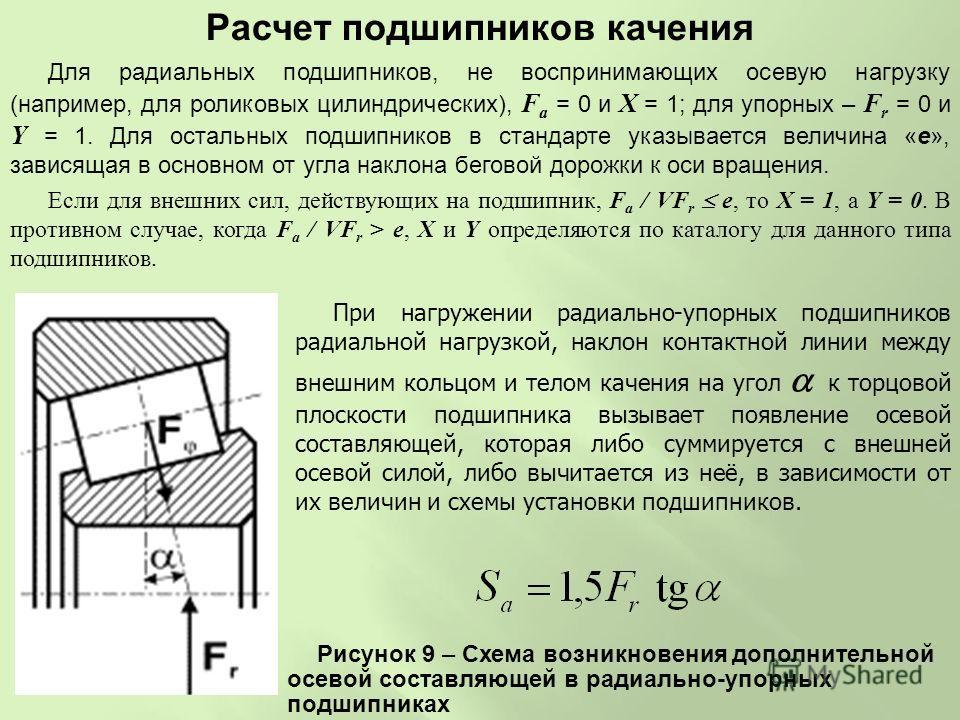 Если для внешних сил, действующих на подшипник, F a / VF r e, то X = 1, а Y = 0. В противном случае, когда F a / VF r > e, X и Y определяются по каталогу для данного типа подшипников. Для радиальных подшипников, не воспринимающих осевую нагрузку (нап