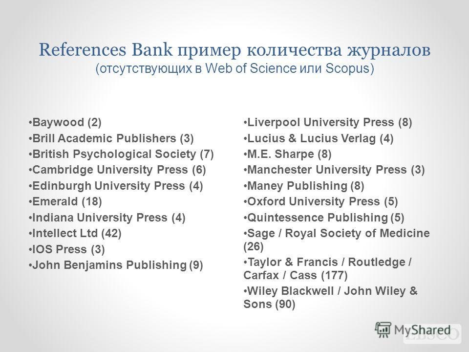 References Bank пример количества журналов (отсутствующих в Web of Science или Scopus) Baywood (2) Brill Academic Publishers (3) British Psychological Society (7) Cambridge University Press (6) Edinburgh University Press (4) Emerald (18) Indiana Univ