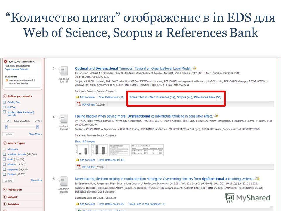 Количество цитат отображение в in EDS для Web of Science, Scopus и References Bank