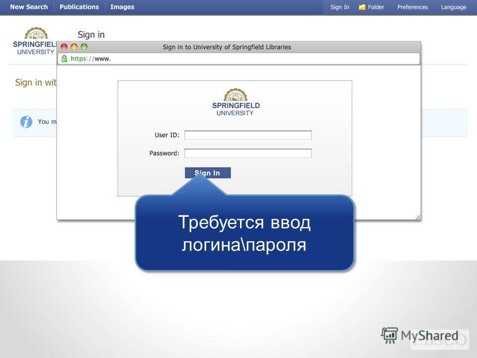 Требуется ввод логина\пароля