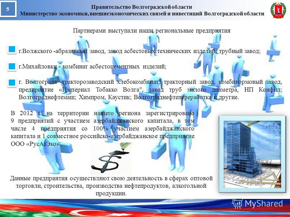 Правительство Волгоградской области Министерство экономики, внешнеэкономических связей и инвестиций Волгоградской области 5 5 В 2012 г. на территории нашего региона зарегистрировано 9 предприятий с участием азербайджанского капитала, в том числе 4 пр