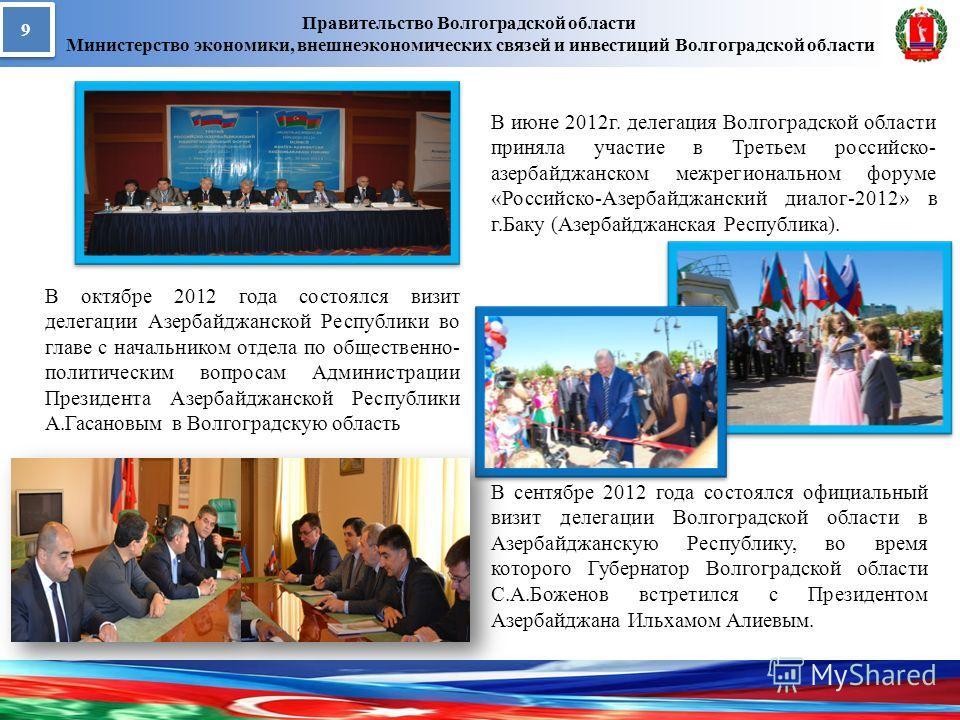 Правительство Волгоградской области Министерство экономики, внешнеэкономических связей и инвестиций Волгоградской области 9 9 В сентябре 2012 года состоялся официальный визит делегации Волгоградской области в Азербайджанскую Республику, во время кото