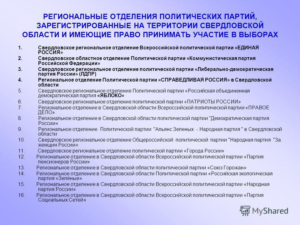 РЕГИОНАЛЬНЫЕ ОТДЕЛЕНИЯ ПОЛИТИЧЕСКИХ ПАРТИЙ, ЗАРЕГИСТРИРОВАННЫЕ НА ТЕРРИТОРИИ СВЕРДЛОВСКОЙ ОБЛАСТИ И ИМЕЮЩИЕ ПРАВО ПРИНИМАТЬ УЧАСТИЕ В ВЫБОРАХ 1.Свердловское региональное отделение Всероссийской политической партии «ЕДИНАЯ РОССИЯ» 2.Свердловское облас