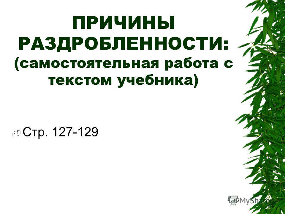 ПРИЧИНЫ РАЗДРОБЛЕННОСТИ: (самостоятельная работа с текстом учебника) Стр. 127-129 3