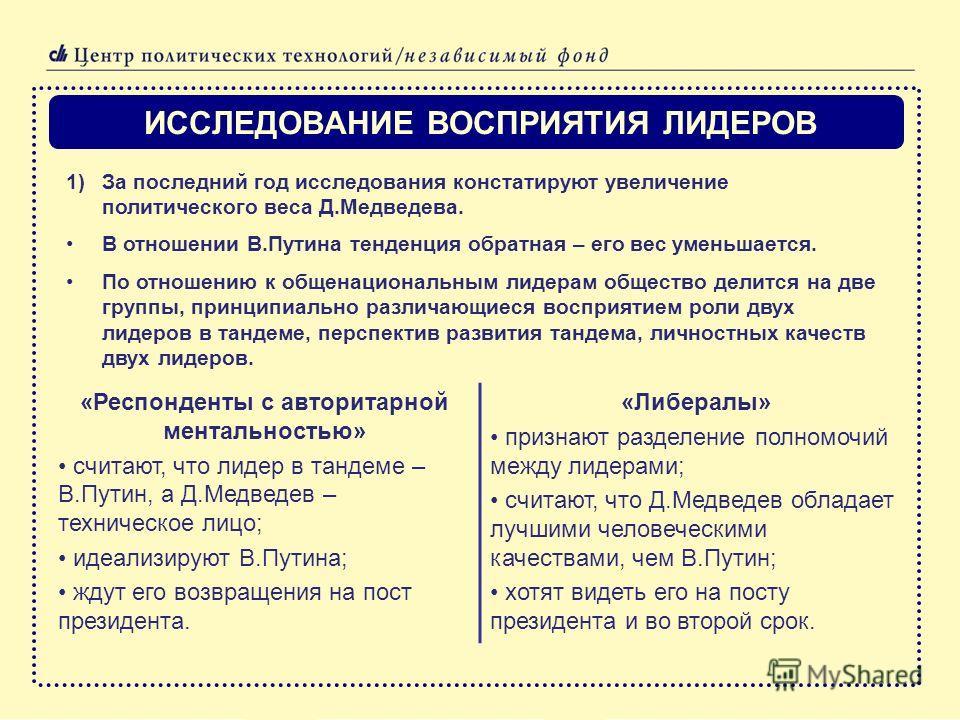 ИССЛЕДОВАНИЕ ВОСПРИЯТИЯ ЛИДЕРОВ 1)За последний год исследования констатируют увеличение политического веса Д.Медведева. В отношении В.Путина тенденция обратная – его вес уменьшается. По отношению к общенациональным лидерам общество делится на две гру