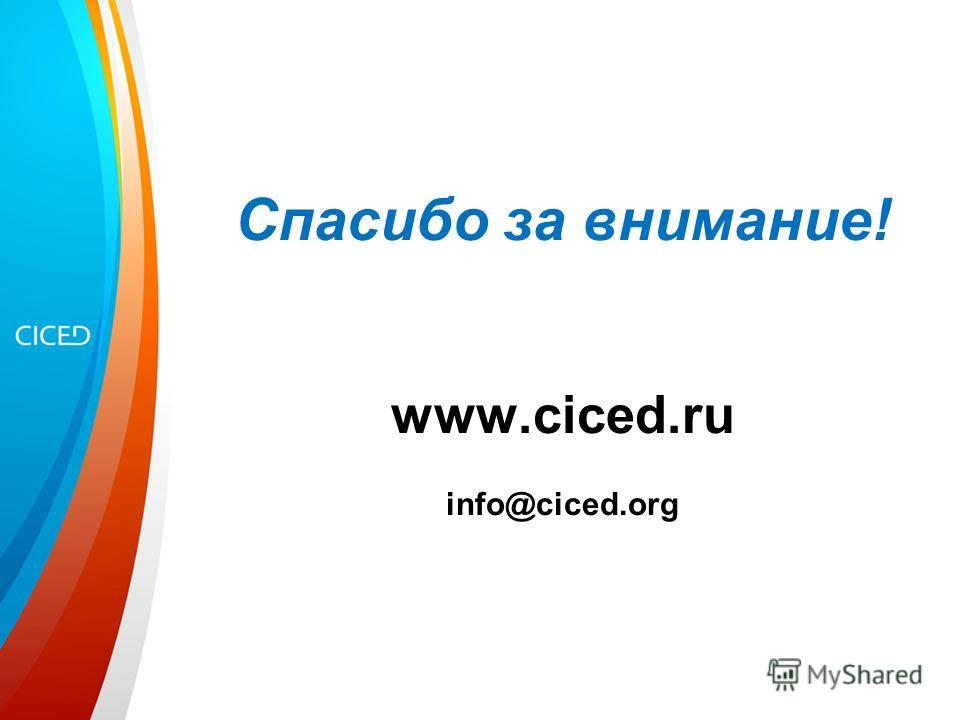 Спасибо за внимание! www.ciced.ru info@ciced.org