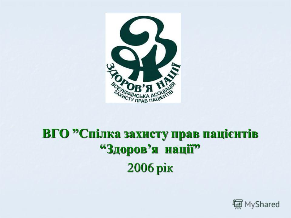 ВГО Спілка захисту прав пацієнтів Здоровя нації 2006 рік